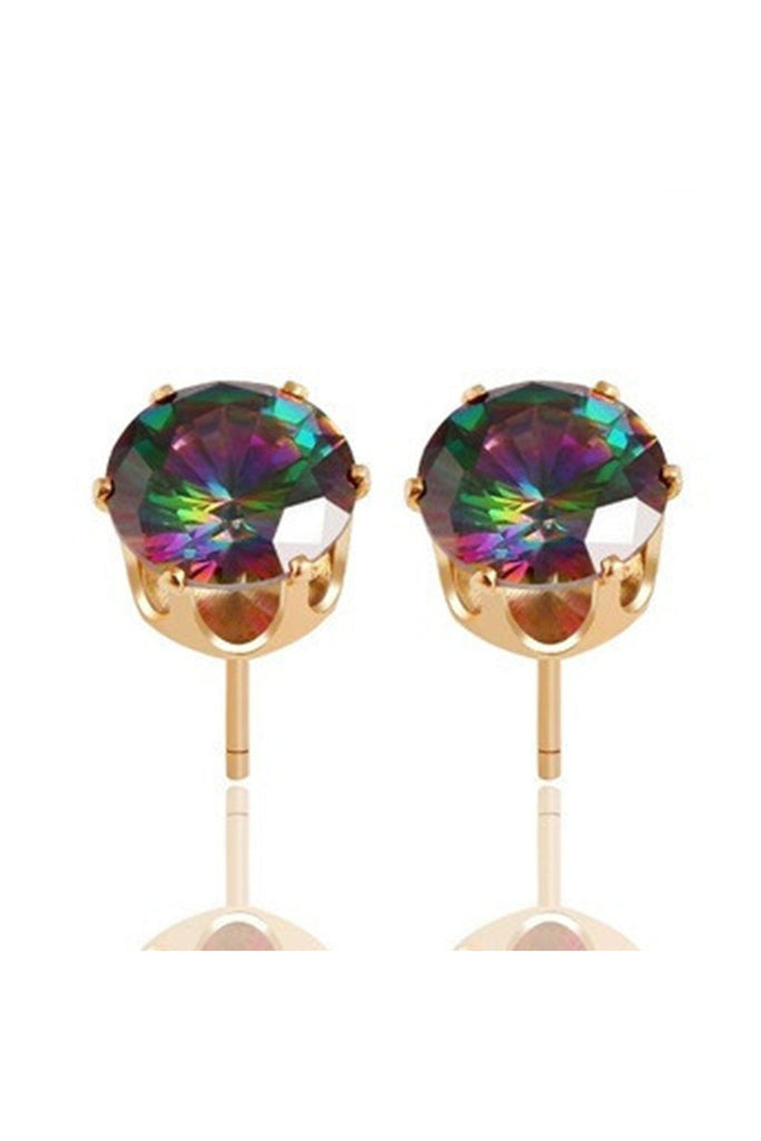 Rainbow Crystal Stud Earrings-EARRINGS-Fierce Finds Mobile Boutique