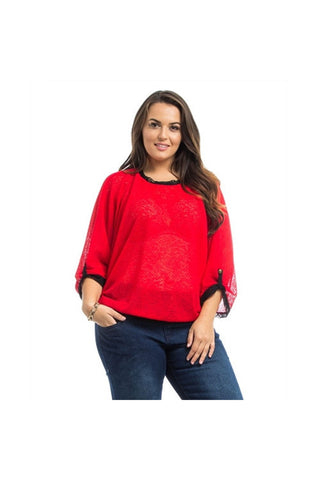 Red Dolman Sheer Plus Size Top-Plus Size-Fierce Finds Mobile Boutique