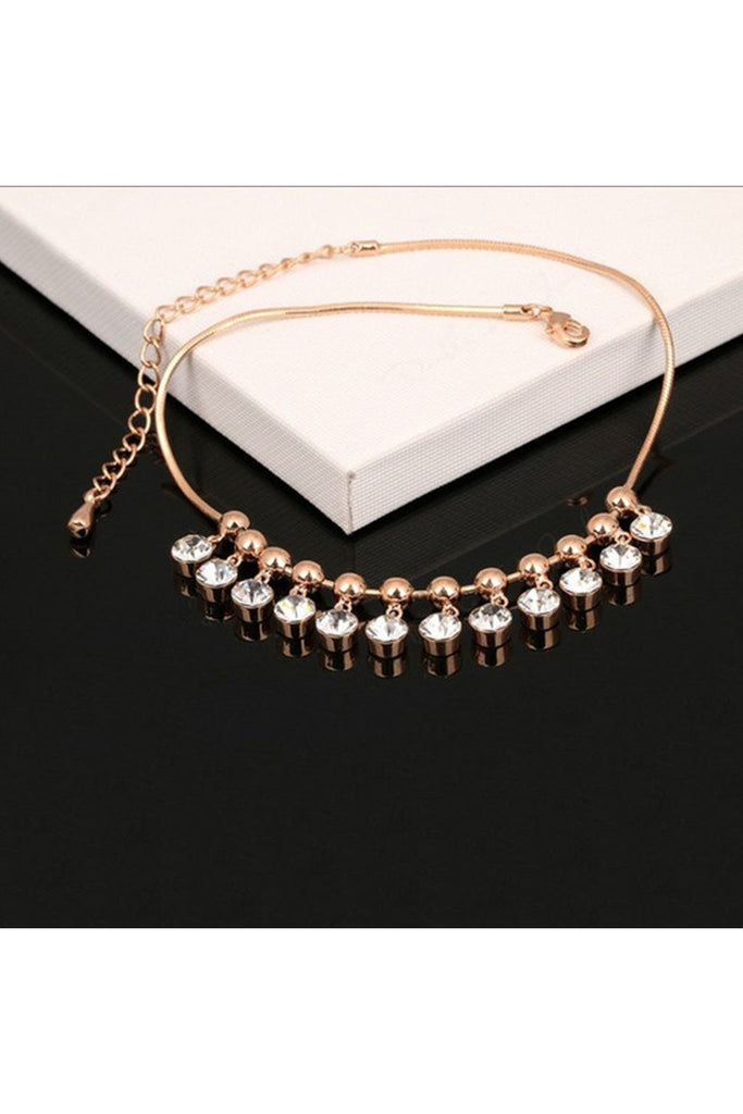 Rose Gold Crystal Charm Anklet-BRACELET-Fierce Finds Mobile Boutique