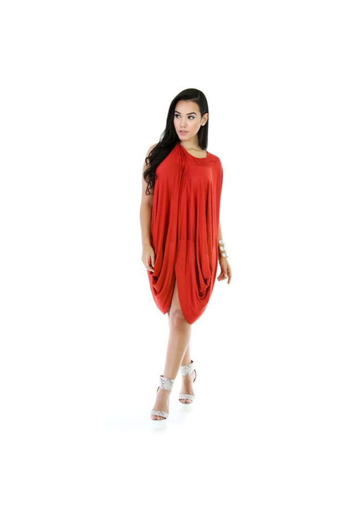 Rust Drapey Dress-Women - Apparel - Dresses - Cocktail-Fierce Finds Mobile Boutique