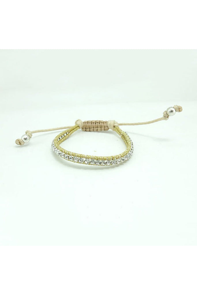 Small Silk Wrapped Crystal Bracelet - Fierce Finds Mobile Boutique  - 1