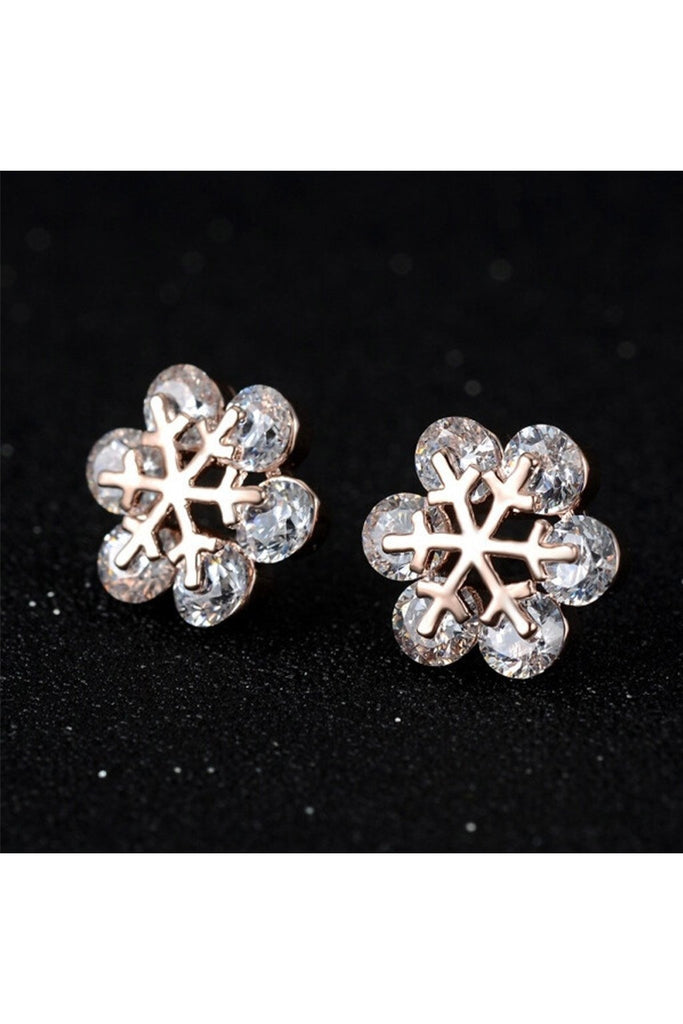 Snowflake Crystal Stud Earrings - Fierce Finds Mobile Boutique  - 1