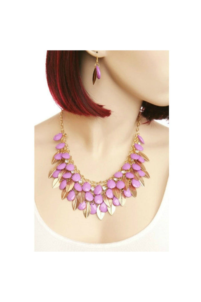 Stone & Leaves Necklace & Earring Set - Fierce Finds Mobile Boutique  - 1