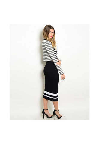 Stripe Skirt Set-Women - Apparel - Dresses - Day to Night-Fierce Finds Mobile Boutique