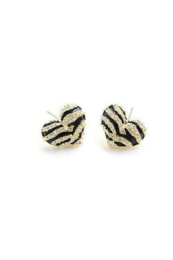 Striped Heart Earrings - Fierce Finds Mobile Boutique  - 1