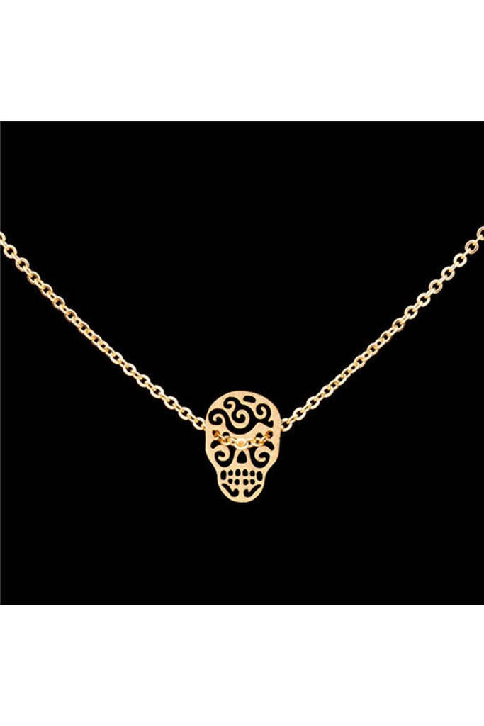 Sugar Skull Stainless Steel Necklace - Fierce Finds Mobile Boutique  - 1