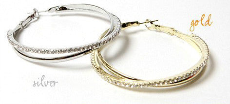 Crossover Crystal Hoops - Fierce Finds Mobile Boutique  - 2
