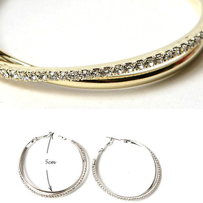 Crossover Crystal Hoops - Fierce Finds Mobile Boutique  - 4