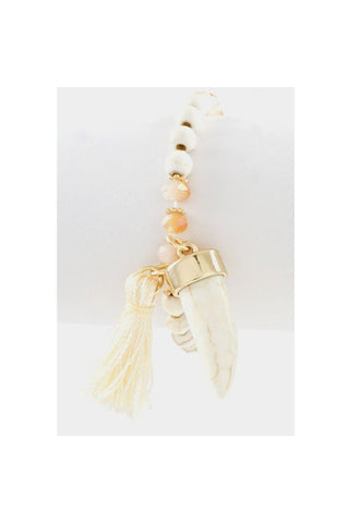 Tassle Horn Beaded Bracelet - Fierce Finds Mobile Boutique  - 1