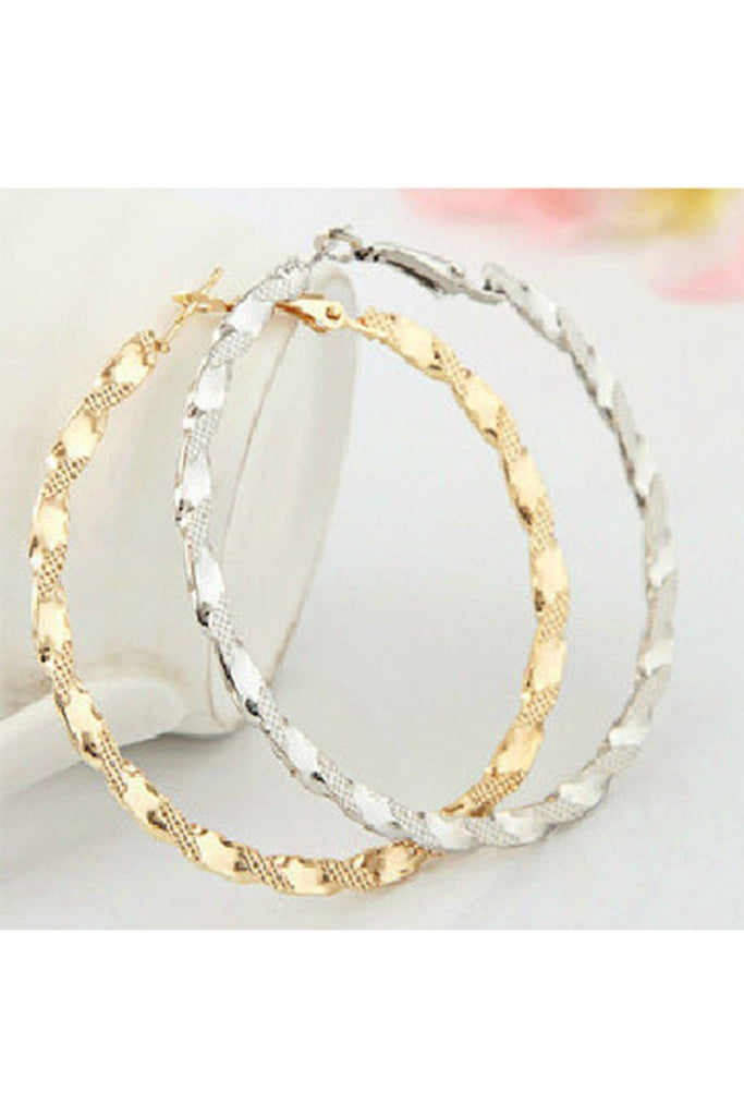 Textured Hoop Earrings-EARRINGS-Fierce Finds Mobile Boutique