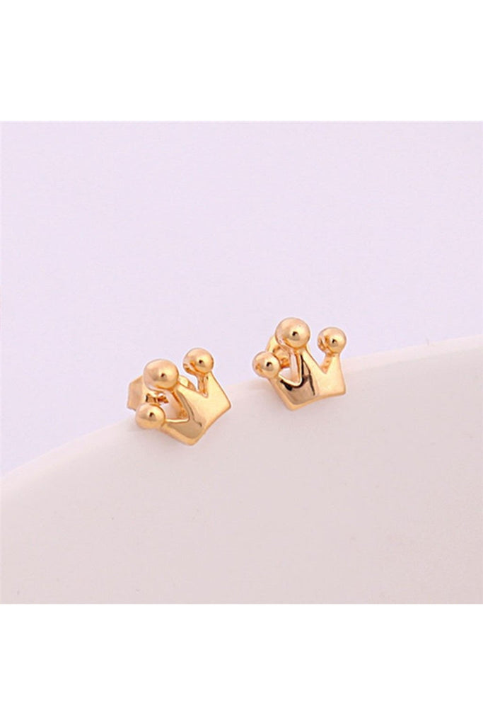 Tiny Crown Stud Earrings-EARRINGS-Fierce Finds Mobile Boutique