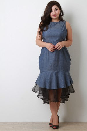 Denim Sleeveless Peplum Tulle Hem Midi Dress
