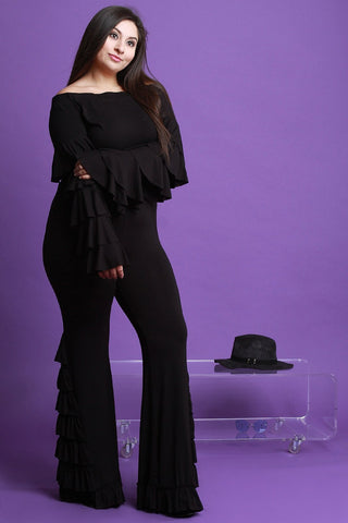 Tiered Ruffled Bardot Top With High Waisted Pants Set-Plus Sizes, Tops +-Fierce Finds Mobile Boutique