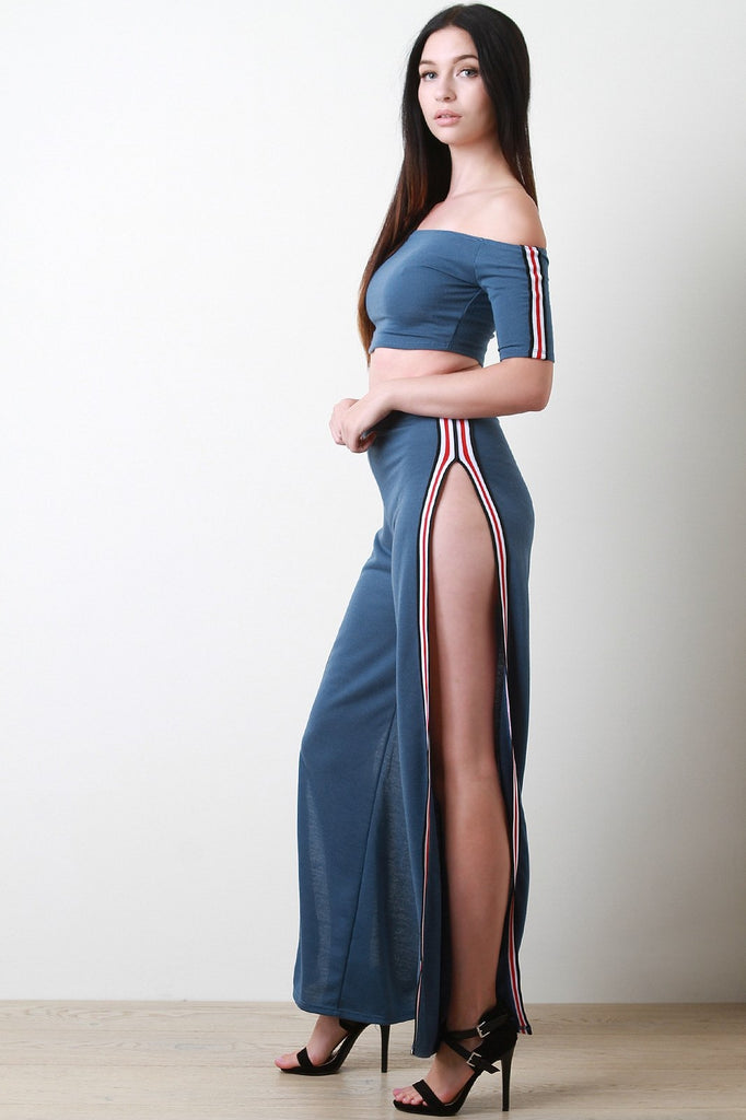 Stripe Trim French Terry Crop Top With Slit Pants Set-Clothes, Tops-Fierce Finds Mobile Boutique