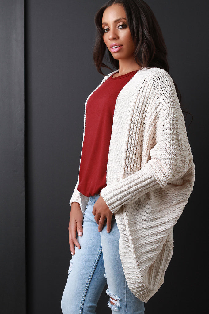 Soft Cable Sweater Knit Open Front Cardigan