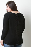 Back Corset Lace-Up Cable Knit Sweater Top