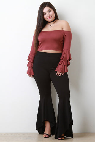 Stretchy High Waisted Ruffled Bell Bottom Plus Size Pants-Plus Sizes, Bottoms +-Fierce Finds Mobile Boutique