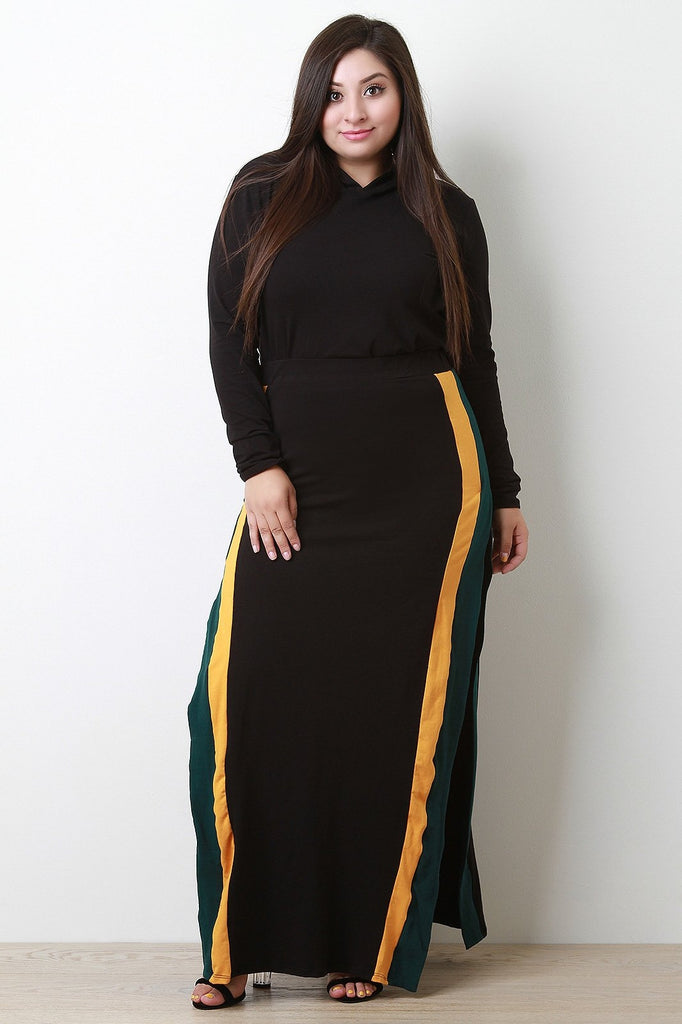 High Rise Double Slit Striped Maxi Plus Size Skirt-Plus Sizes, Bottoms +-Fierce Finds Mobile Boutique