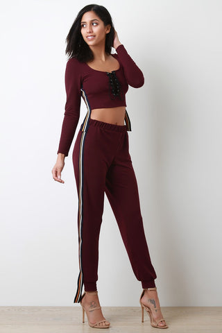 Stripe Trim Lace-Up Crop Top With Jogger Pants Set-Clothes, Tops-Fierce Finds Mobile Boutique