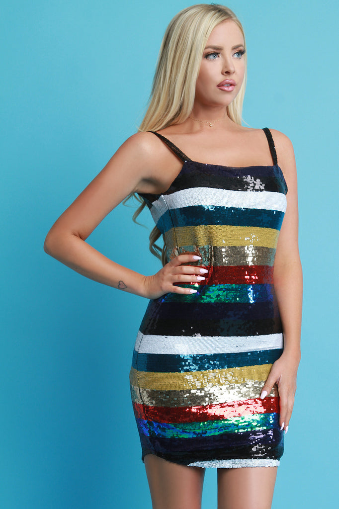 Striped Sequin Sleeveless Bodycon Mini Dress