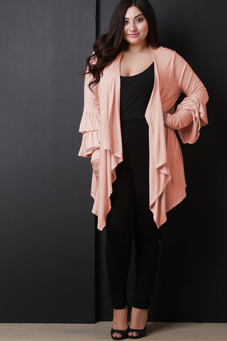 Draped Open Front Ruffle Sleeves Cardigan