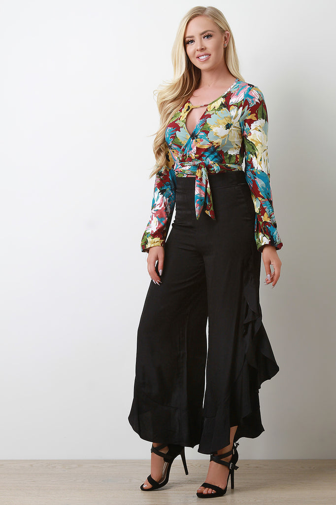 High Waist Flounce Satin Pants