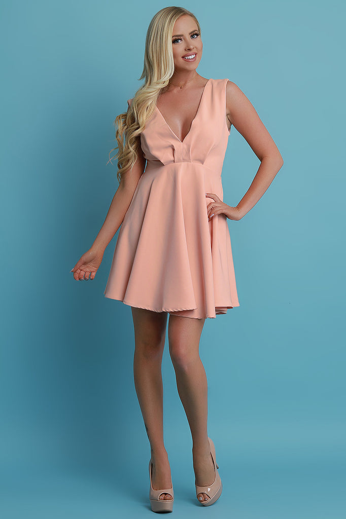 V-Neck Sleeveless Skater Dress