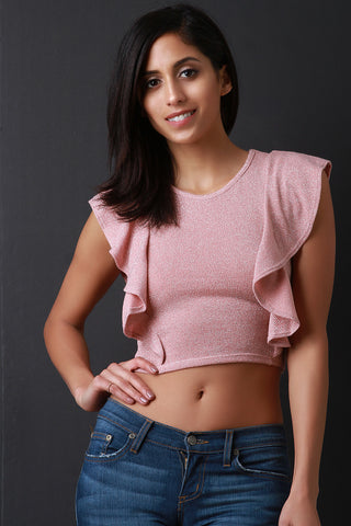 Shimmer Ruffle Sleeves Crop Top