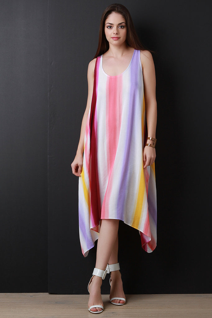 Sleeveless Flowy Striped Trapeze Dress