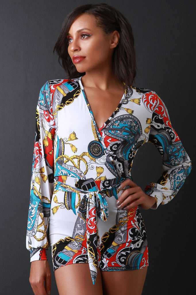 Mixed Chain Print Tie Waist Wrap Romper