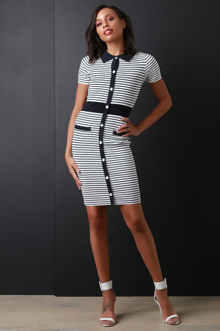 Striped Button-Up Collar Dress