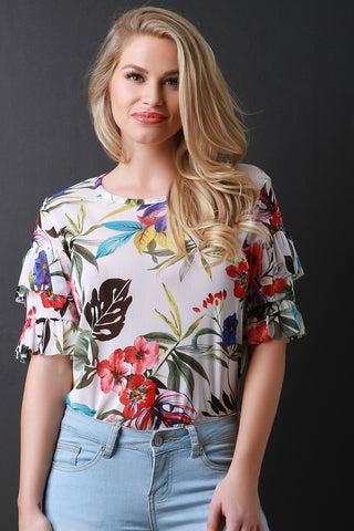 Tropical Print Mesh Tiered Ruffled Sleeve Top