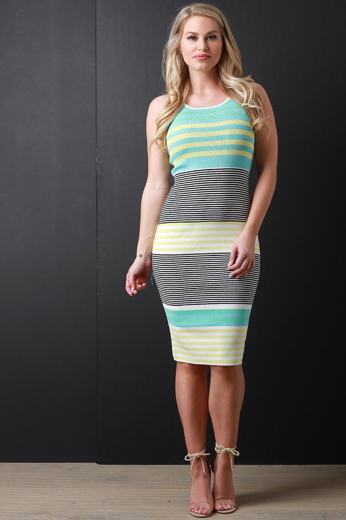 Striped Pastel Striped Knit Midi Dress