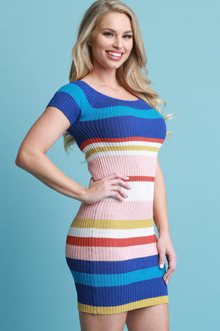 Sweater Knit Striped Bardot Bodycon Dress