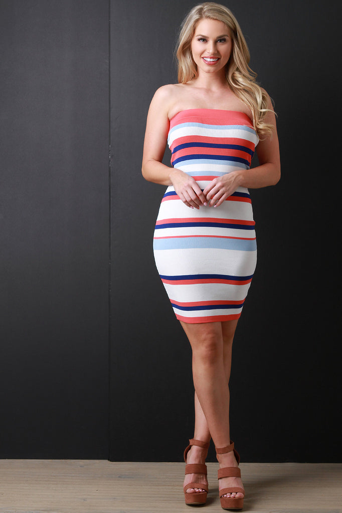 Striped Knit Tube Mini Dress