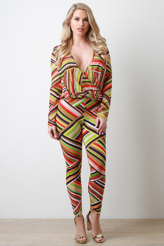 Striped Weave Pattern Two Piece Set