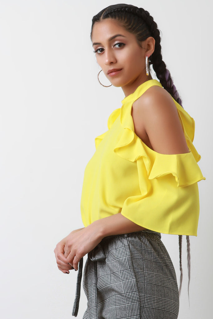 Ruffled Sleeves Cold Shoulder Halter Top