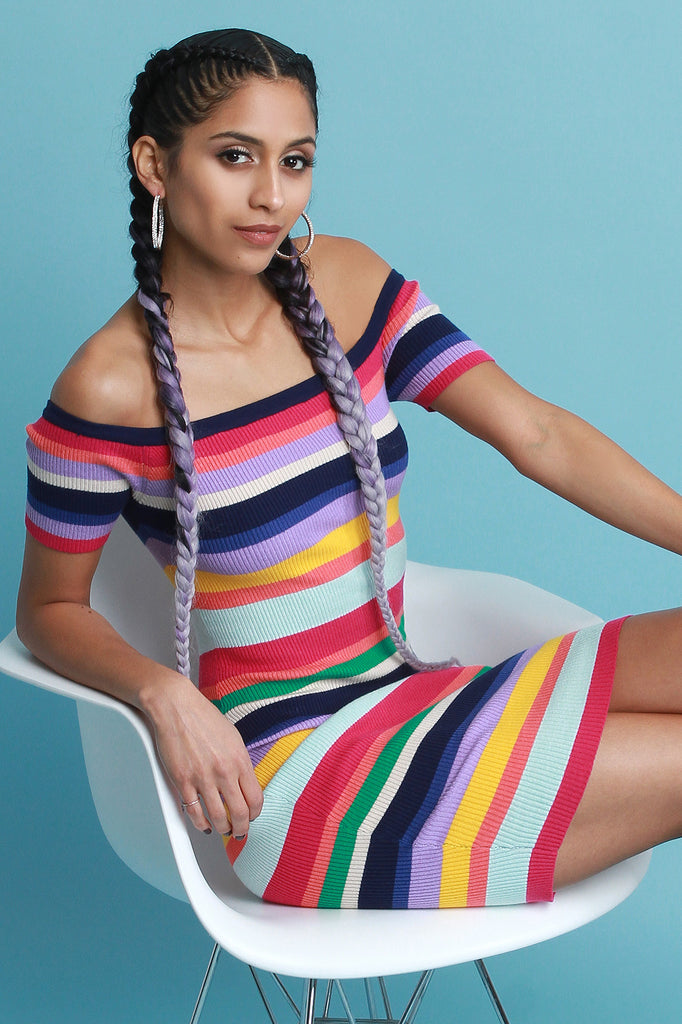 Colorful Striped Ribbed Knit Bardot Dress