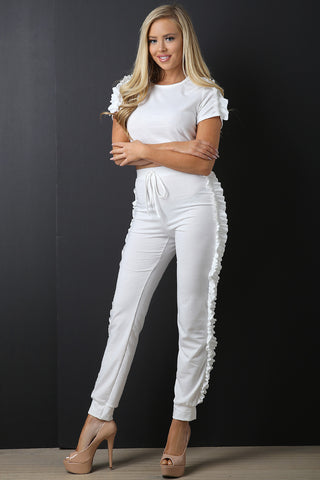 Ruffle Trim Crop Top with Jogger Pants Set