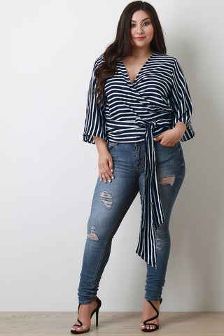 Surplice Striped Wrap Top