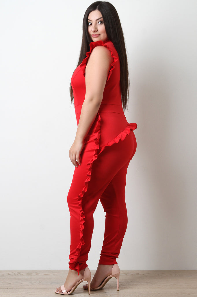 Mock Neck Ruffle Trim Jumpsuit