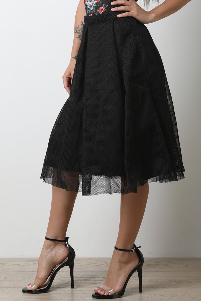 Honeycomb Mesh Boxy Pleated A-Line Skirt