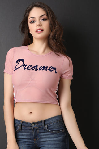 Dreamer Side Stripe Mesh Crop Tee