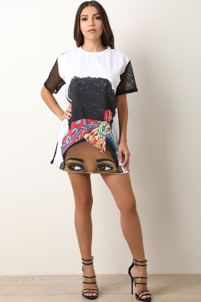Graphic Print Netted T-Shirt Dress