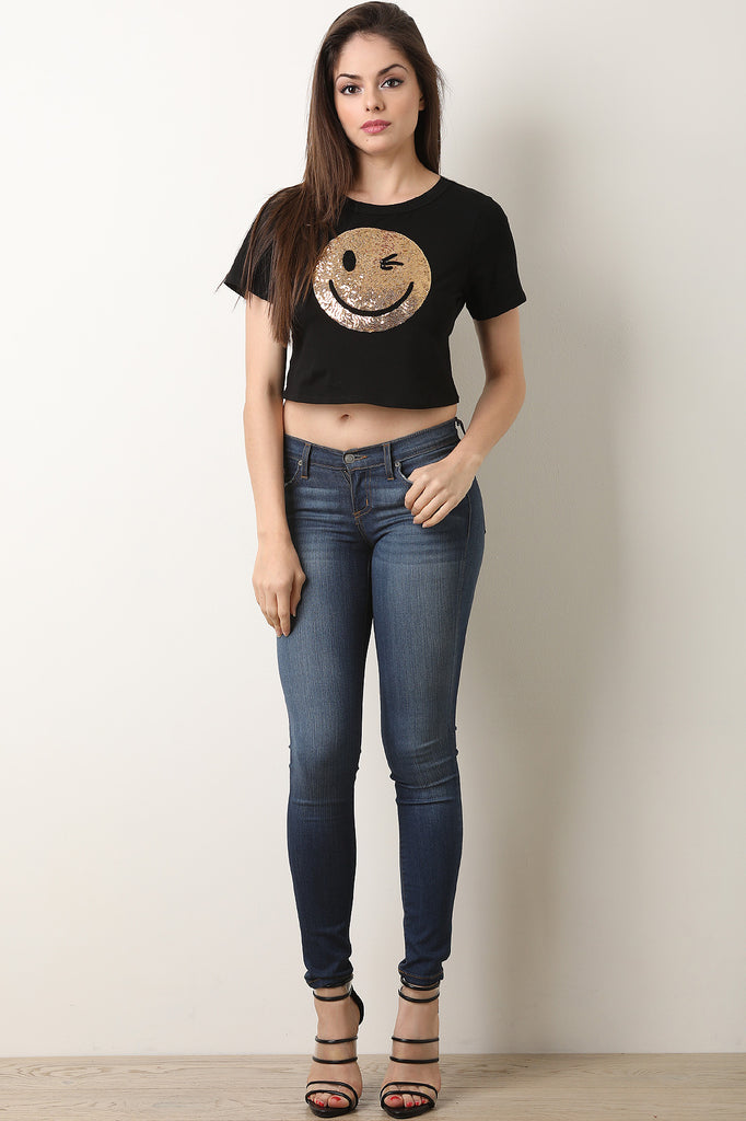 Sequins Winky Smiley Face Crop Tee
