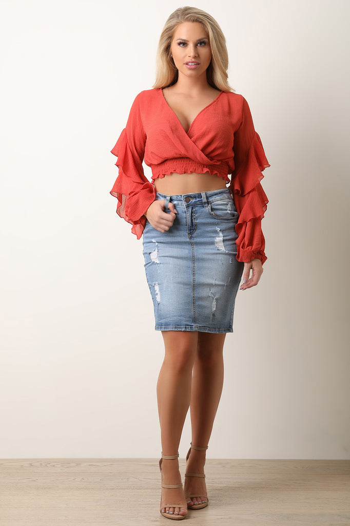 Ruffle Statement Sleeve Smock Crop Blouse