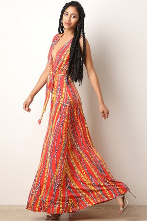 Chain-Link Print Surplice Maxi Dress