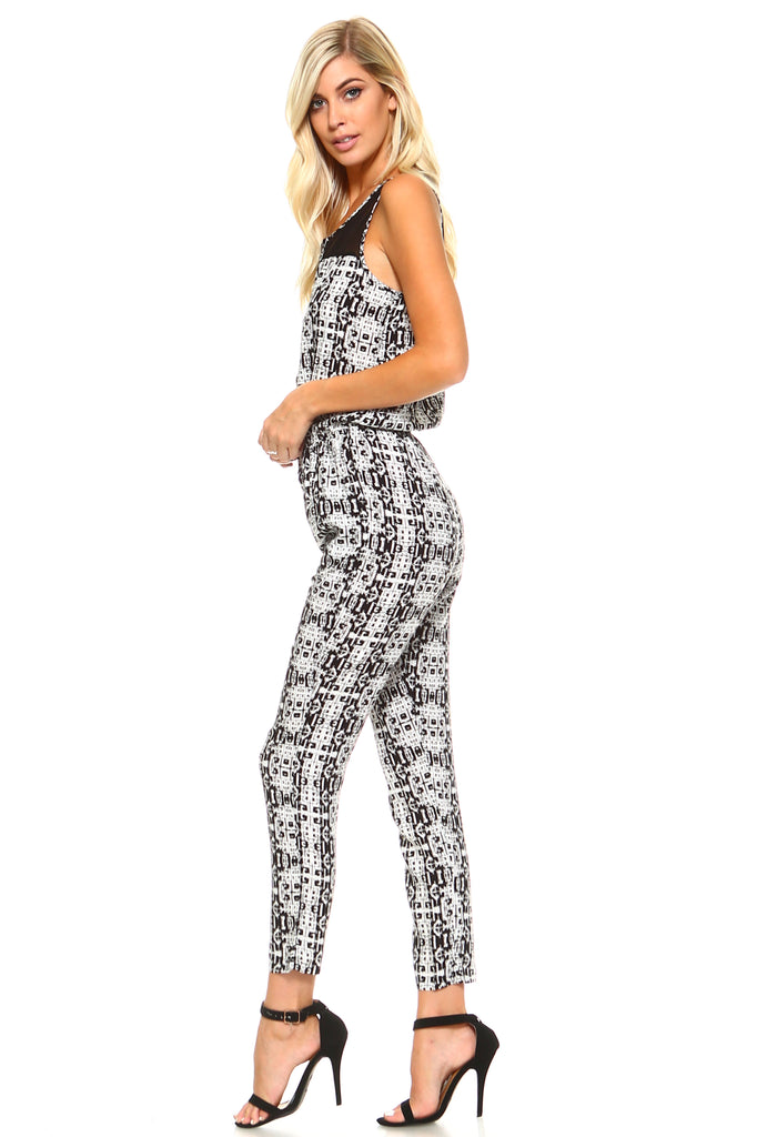 Women's Tribal Print Jumpsuit with Mesh Neck