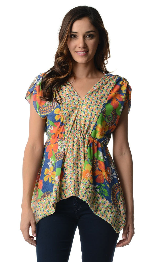 Women's Floral Printed Flutter Top