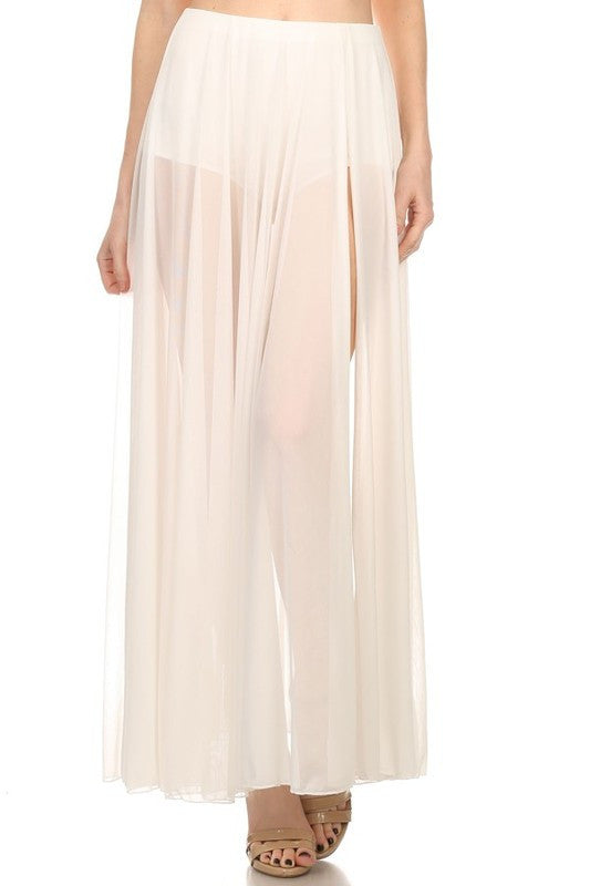 White Sheer Maxi Skirt - Fierce Finds Mobile Boutique  - 2